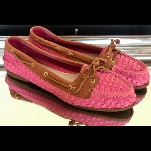 Sperry Top Sider Pink Woven Leather Boat Shoes 10M